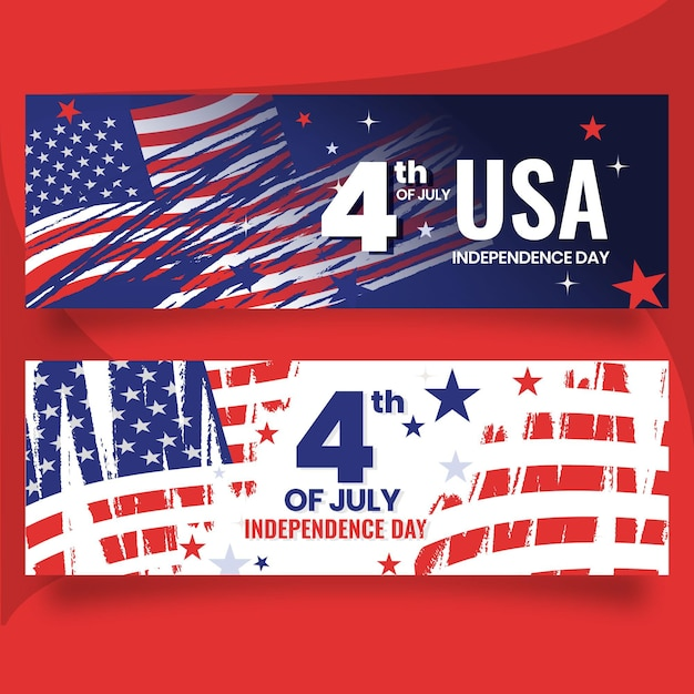 Detailed 4th of july - independence day banners set Free Vector