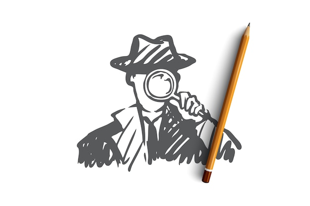 Premium Vector | Detective weapon magnifying glass inspector policeman  detective with a magnifying glass