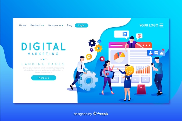 Digital Marketing Landing Page Template Vector Free Download