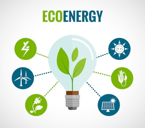 Eco energy flat icons composition poster Free Vector