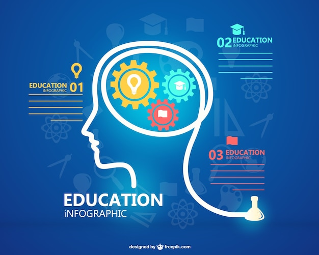 Education Infographic With Man Silhouette And Gears Vector