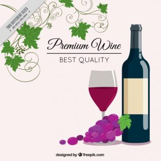 Elegant background with wine bottle Free Vector