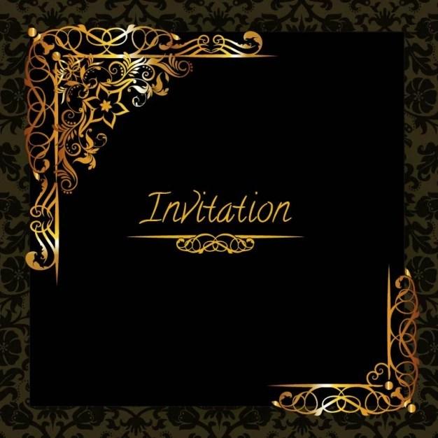 Elegant Golden Design Invitation Template Vector Free Download