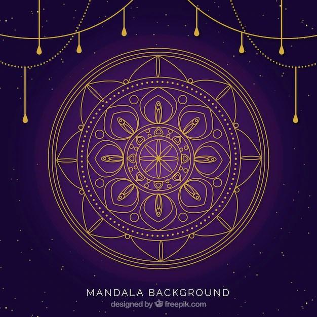 Elegant Golden Mandala Purple Background Vector Free