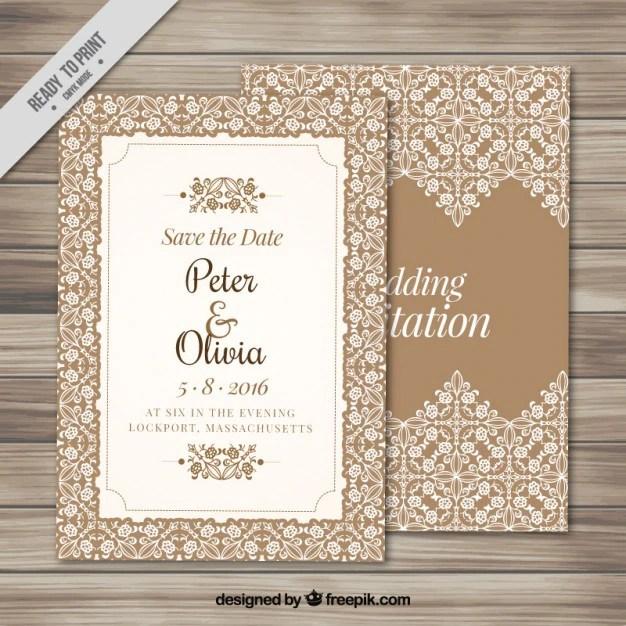 Elegant Wedding Invitation With An Ornamental Frame Free Vector