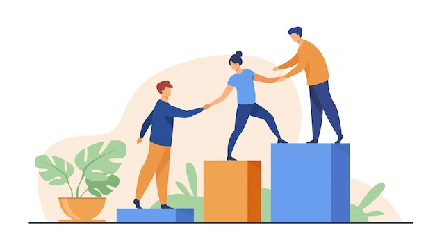 Employees giving hands and helping colleagues to walk upstairs Free Vector