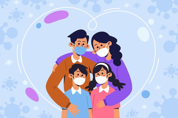 Family protected from the virus Free Vector