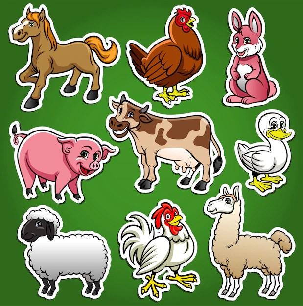 Premium Vector Farm Animals Cartoon Set