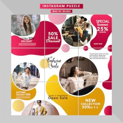 Fashion social media puzzle story Premium Vector