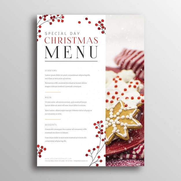 Festive menu template for christmas Free Vector