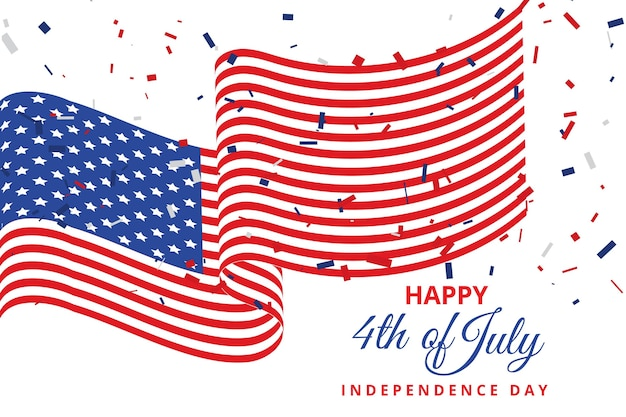Flat 4th of july independence day illustration Premium Vector