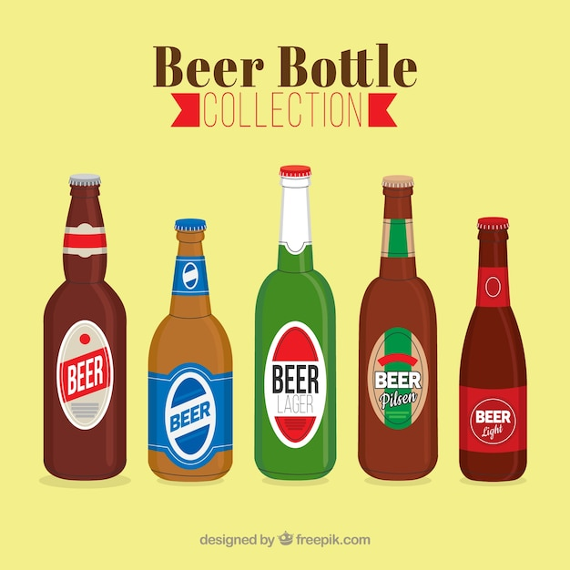 Download Flat beer bottle collection with label Vector   Free Download