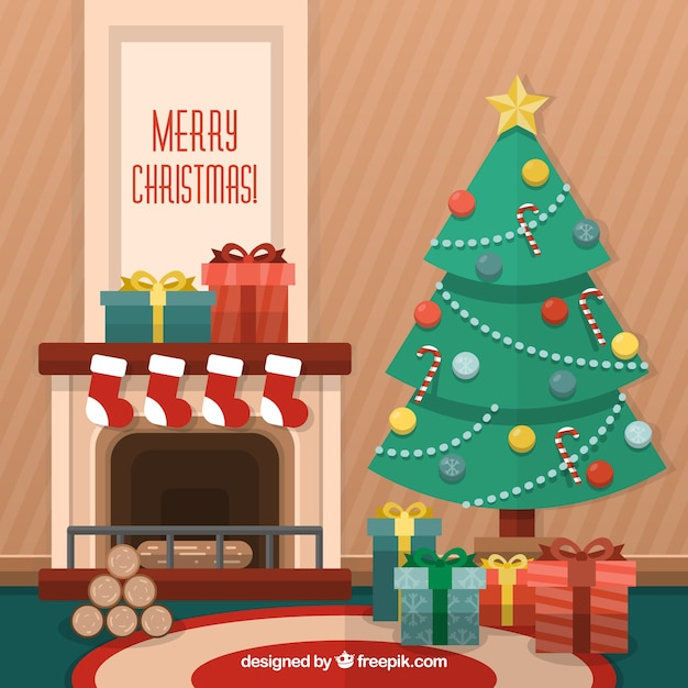 Flat Christmas Background Vector Free Download