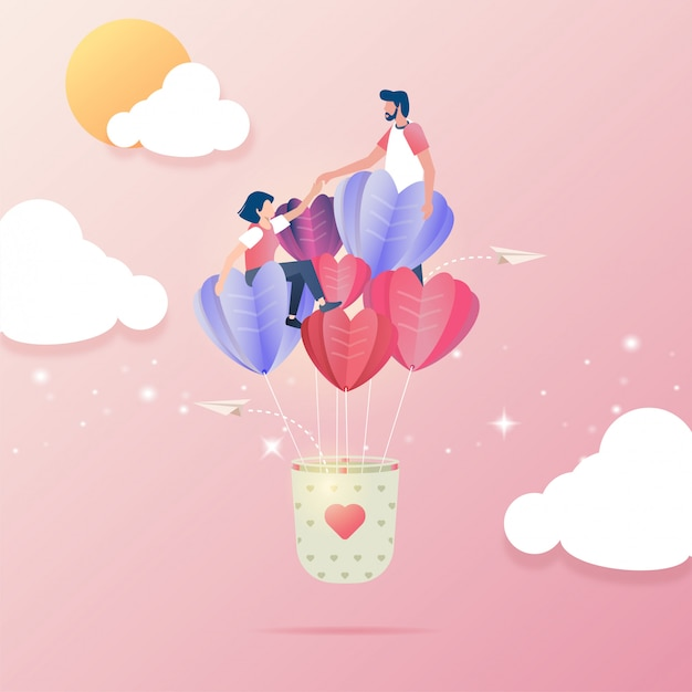 Download Flat design of couple falling in love on a flying balloons ...