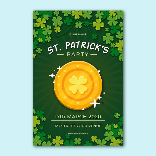 Flat design flyer for st. patrick's day template Free Vector