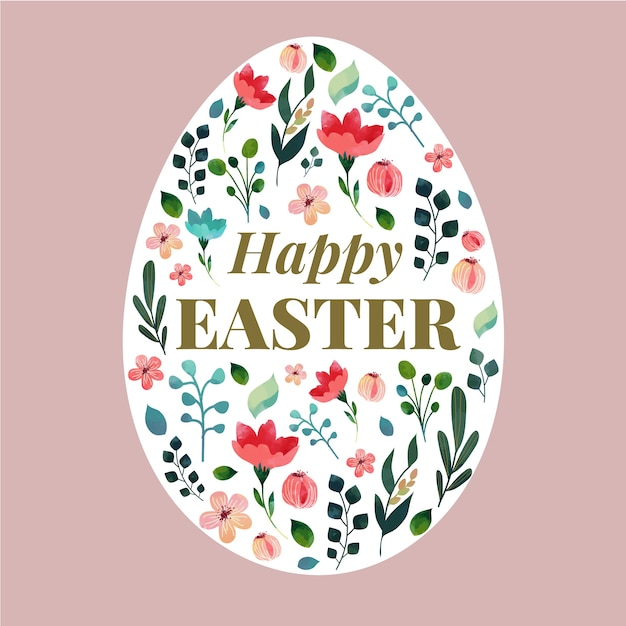 Flat design happy easter day with floral egg Free Vector