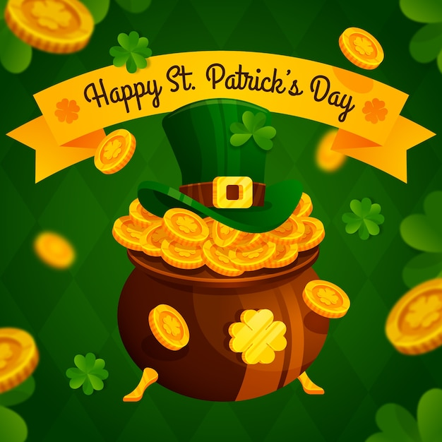 Flat design st. patrick's illustration with golden coins Free Vector