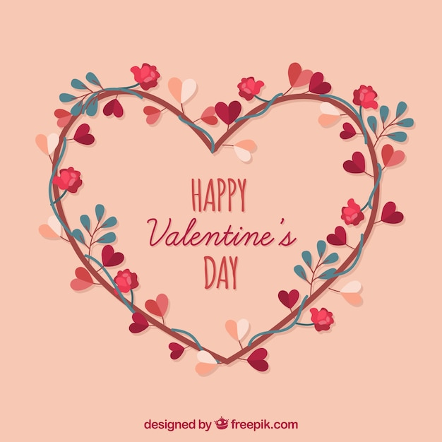 Floral Heart Happy Valentine's Day Vector Download