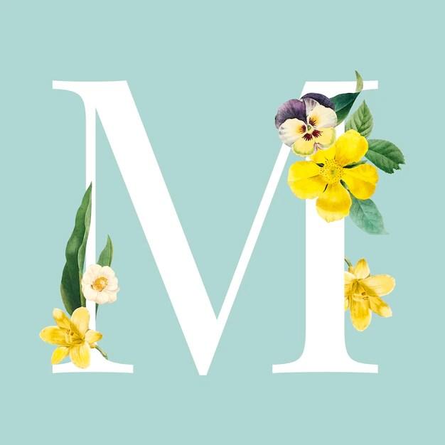Free Vector Floral Capital Letter M Alphabet Vector
