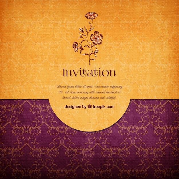 Fl Elegant Invitation Free Vector