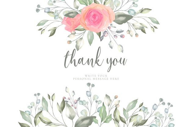 Floral Thank You Card Template Vector Free Download
