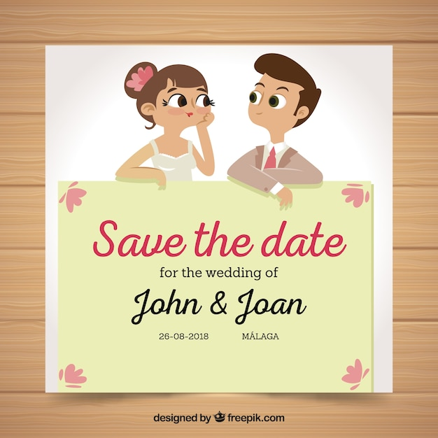 Fun Wedding Invitation With Husband And Wife Free Vector