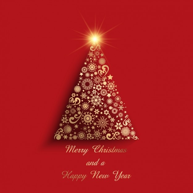 Geometric Golden Christmas Tree On A Red Background Vector