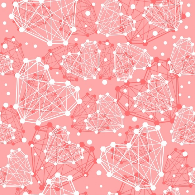 Geometric Hearts Pink Background Vector Free Download