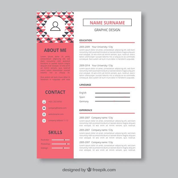 graphic designer resume template vector free - Resume Template Free Vector