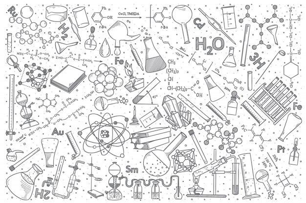 Hand Drawn Chemistry Vector Doodle Set Premium Vector
