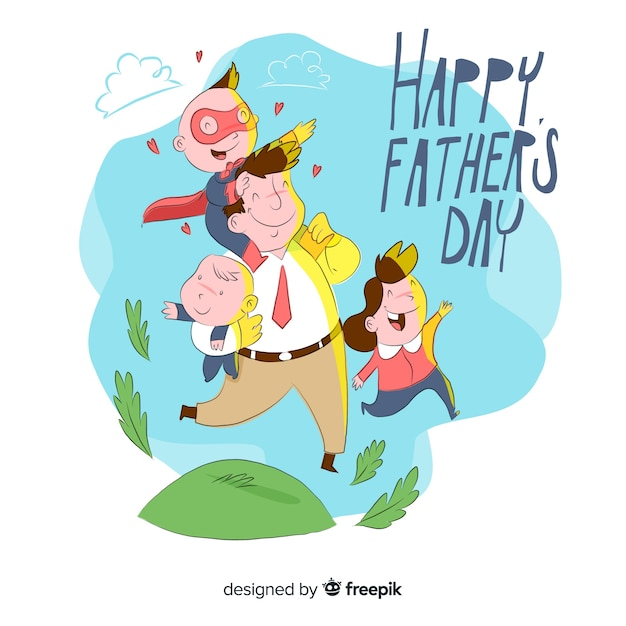Hand drawn Father's day Illustration Free Vector - Happy Father with 3 Kids