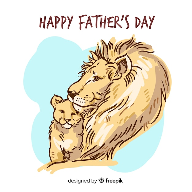 Hand drawn Father's day Lion and Cub Free Vector