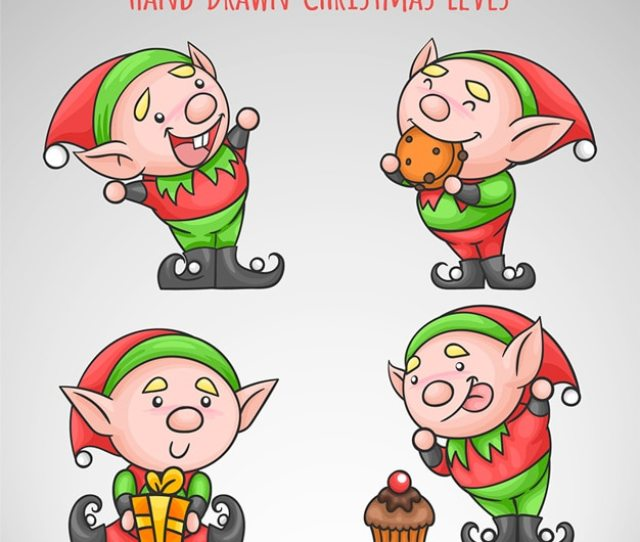 Hand Drawn Funny Christmas Elves Free Vector