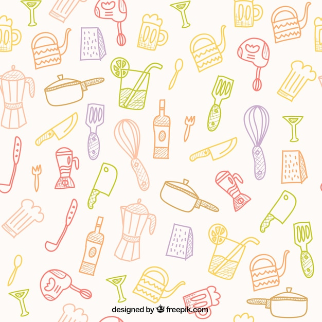 Hand Drawn Kitchen Tools Pattern Vector Free Download