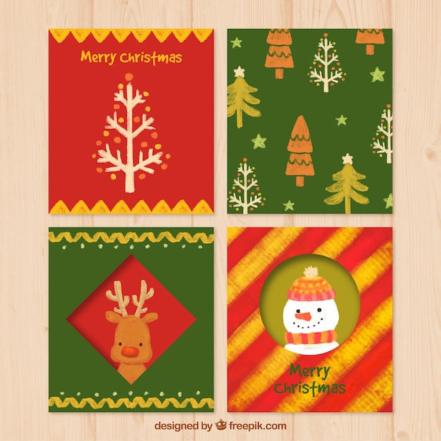 Hand Painted Christmas Cards Collection Vector Free Download
