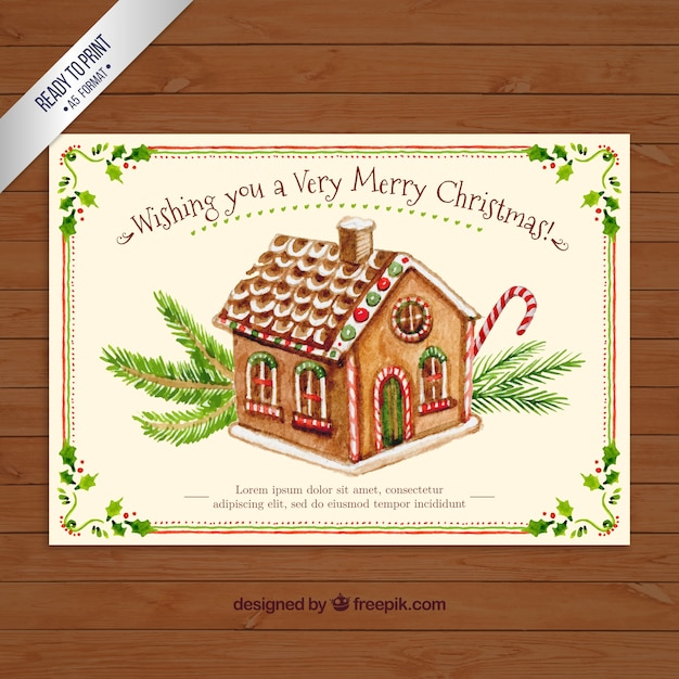 Hand Painted Sweet House Christmas Card Vector Free Download