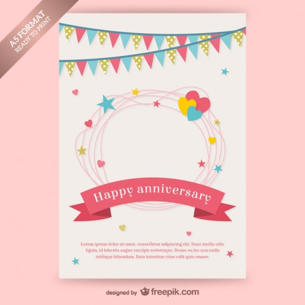 Happy Anniversary Card With Garlands Free Vector