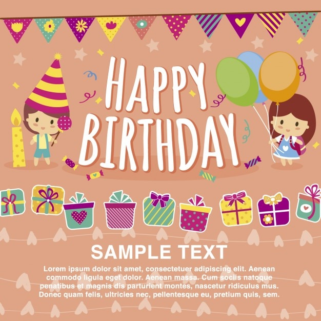 Free Vector Happy Birthday Card Template