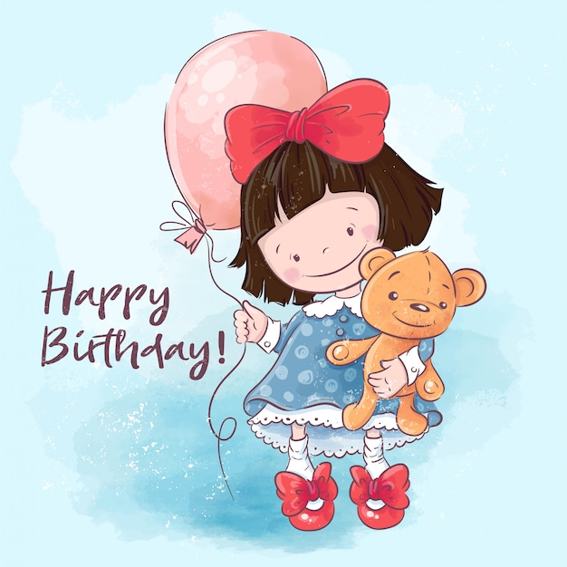 Premium Vector Happy Birthday Greeting Card Illustration Cute Cartoon Girl With A Balloon And A Toy