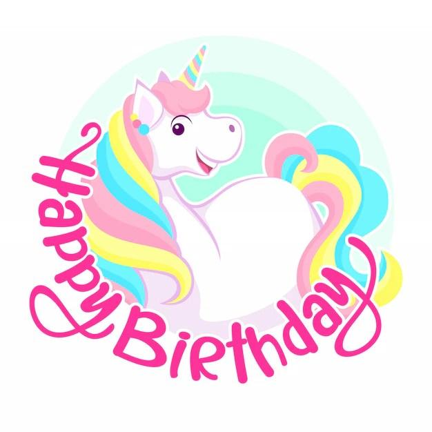 Premium Vector Happy Birthday Greeting Smiling Colorful Unicorn