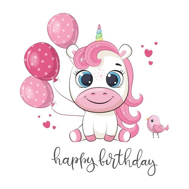 Premium Vector Happy Birthday Greeting With Unicorn