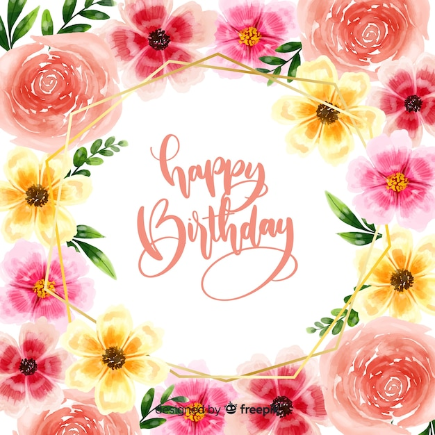 Free Vector Happy Birthday Lettering Background With Flowers
