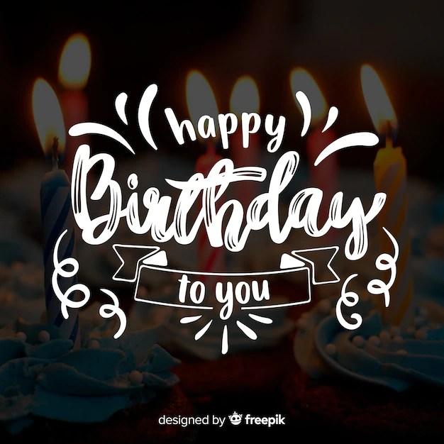 Premium Vector Happy Birthday Lettering With Photo