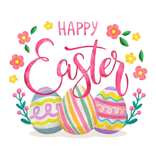 Happy easter day banner in watercolor Free Vector