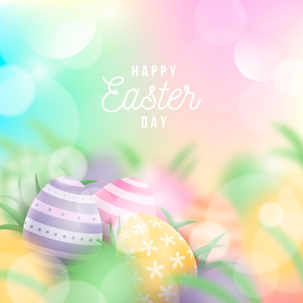 Happy easter day event illustration Free Vector