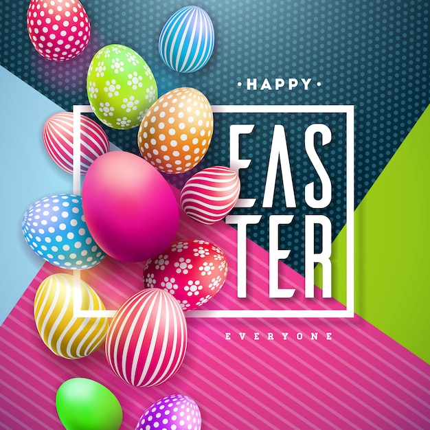 Happy easter illustration with colorful painted egg Free Vector