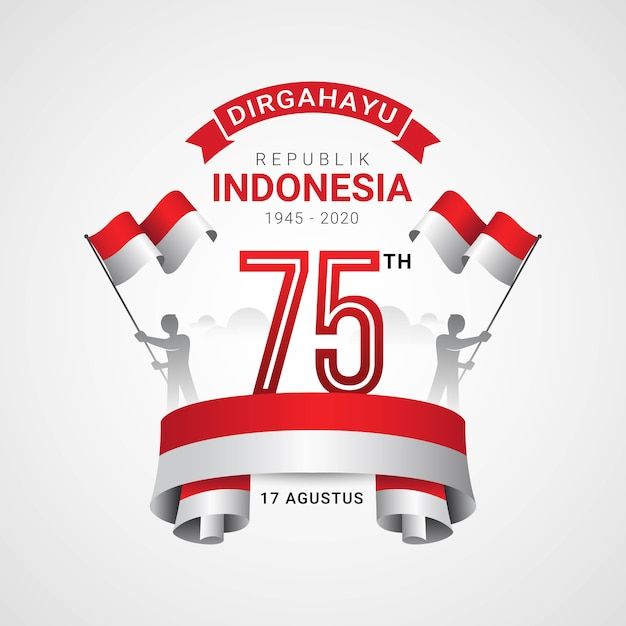 Premium Vector Happy Indonesia Independence Day Greeting Card