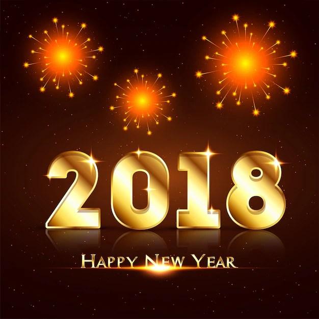 Happy New Year 2018 Celebration Background With Fireworks