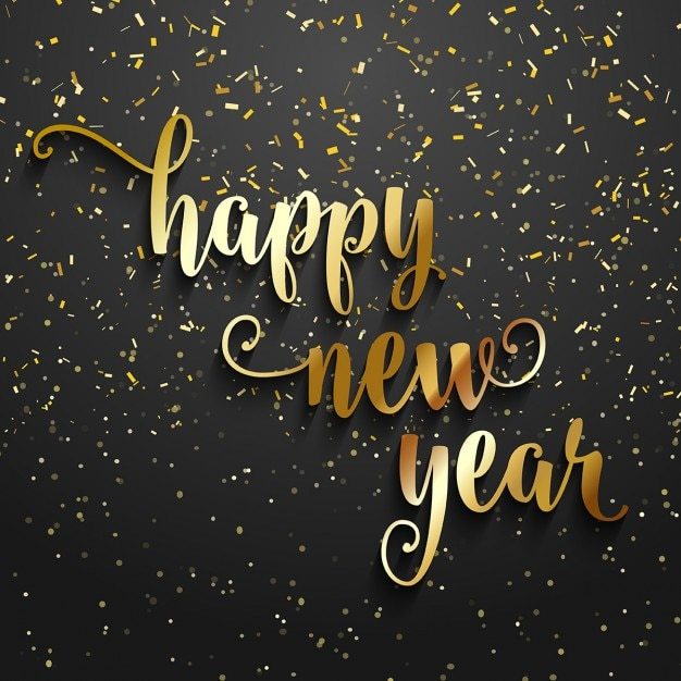 Happy new year background with golden confetti Vector   Free Download Happy new year background with golden confetti Free Vector