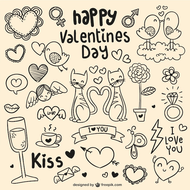 Happy Valentines Day Doodles Vector Free Download